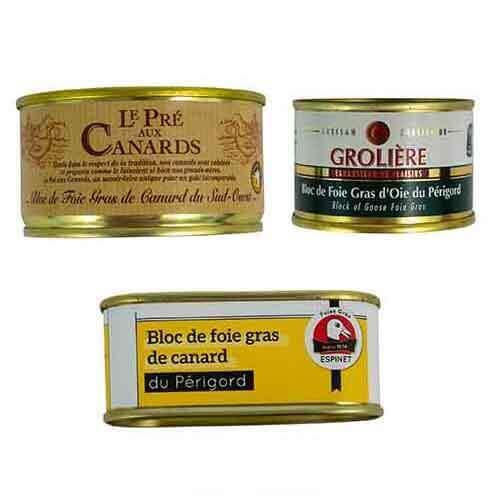 Presentkorg «Tre variationer på foie gras»  Presentkorgar med ank och gåslever