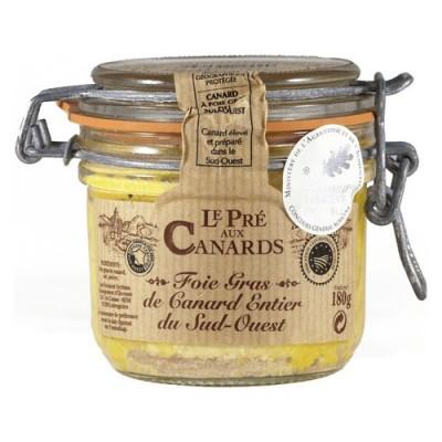 Gehele Foie Gras van Eendenlever IGP uit Zuid-West Frankrijk 'Le Pré aux Canards' 180 g